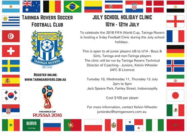 2018  July  School  Holiday  Clinic 1 0th - 1 2th  July